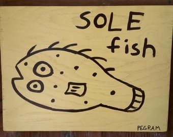 "Fish Folk Art Painting 20"" x 15"" (large clearance price)"