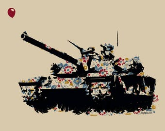 "Brian Methe limited edition screen printed art print ""Balloon Tank"" 20x26 2017"
