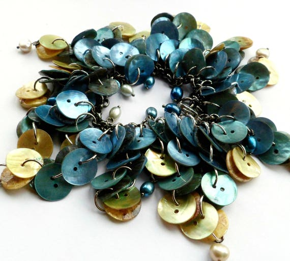 Pearls and Shell Seaweed Bracelet