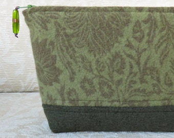 Green Floral Zip Pouch, Eco Friendly Upcycled Sweater Wool Clutch