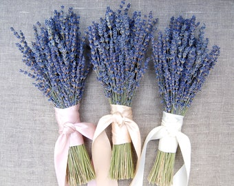 3 Fancy  English Lavender Bouquets with Hand Tied Ribbon in a Love Knot