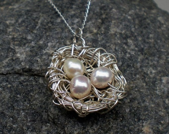 Sterling Silver Bird's Nest Necklace - Free UK Shipping