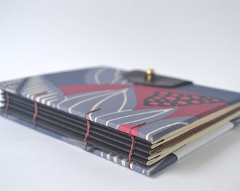Purple, Blue & Burgundy Handbound Coptic Journal, Handmade Journal with Reclaimed Leather and Brass Button