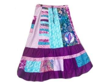 Grateful Dead Skirt, Grateful Dead Spinner skirt, xlong festival skirt, XSmall-mediums skirt,Handmade Hippie Patchwork spinner dancing skirt