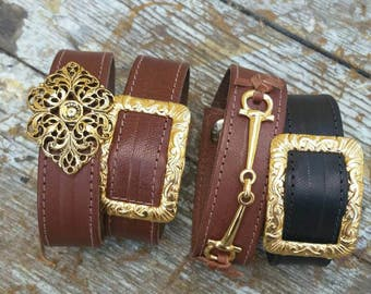 Kangaroo leather cuff with finding