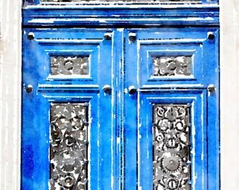 Printable Photo Art, Paris Blue Door, Instant Download, French Decor Watercolor Painting Digital File