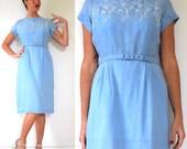 Vintage 1960s Powder Blue Embroidered Wiggle Dress (size medium, large)