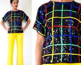 FLASH SALE / 20% off Vintage 80s 90s Rainbow Striped Grid Sequined Silk Blouse (size medium, large)