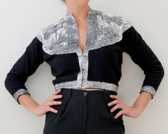 SPRING SALE / 30% off Vintage 60s Silver Sequined Cropped Black Cashmere Cardigan (size small, medium)