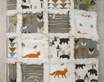 Woodland Quilt - Fox Quilt - Bear Quilt - Arrow Quilt - Mountain Quilt - Baby Boy Quilt - Baby Boy Bedding - Woodland Nursery