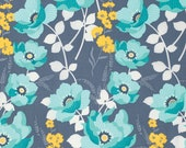 1 YARD - Joel Dewberry Fabric, Atrium Collection, Monarch in Mint Grey Floral Yellow - SALE