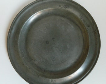 17th or 18th Century Pewter Plate  - Pewter plate with manufacturer's mark