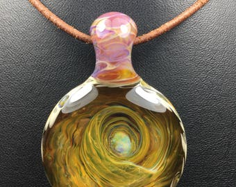 2 sided hand blown borosilicate glass pendant on necklace (leather w/ sterling silver or faux satin) boro bead