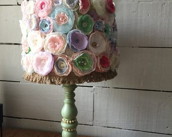 Lamp, lamp shade, shabby chic, fabric flowers, pastel, wood base lamp, hand made, french lamp, home decor, collage, FREE SHIPPING