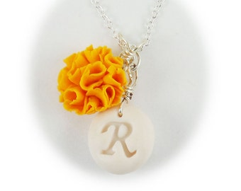 Personalized Marigold Initial Necklace - Marigold Jewelry, October Birthday Birth Flower