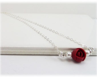 Tinyl Rosebud Necklace - Tiny Rosebud Jewelry