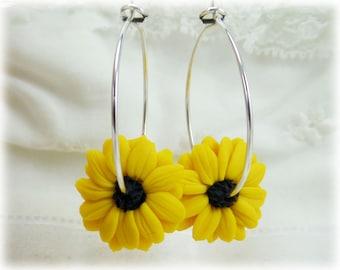 Black Eyed Susuan Hoop Earrings - Yellow Flower Hoop Earrings, Black Eyed Susan Jewelry , Yellow Coneflower