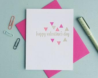 Letterpress Greeting Card - Valentine Card - Vibrant Geometrics Easter Card