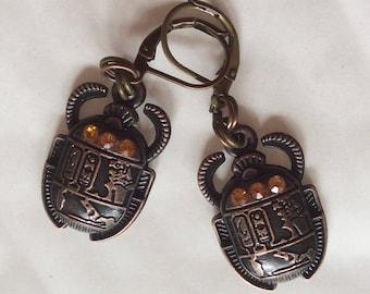 Scarab beetle Egyptian Egypt earrings copper tone charm  for pierced ears nickel free