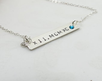 ON SALE Roman Numerals Birthstone THICK Bar Necklace- 925 Sterling Silver Bar Necklace Gift Mothers Day Bridesmaids Necklace Wedding Maid of