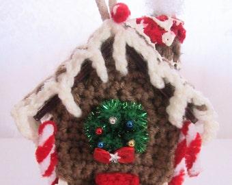 Gingerbread House Crochet Gingerbread House Small House Crochet Ornament Decoration by craftylittlekitten