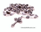 Miraculous Medal Job's Tear Rosary Beads with Pardon Crucifix Unbreakable Rosaries