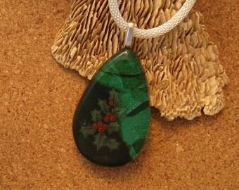 Dichroic Glass Pendant - Dichroic Jewelry - Dichroic Holly Pendant - Fused Glass Pendant - Fused Glass Jewelry - Dichroic Christmas Pendant