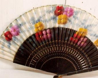 Vintage handpainted Flowers ladies fan