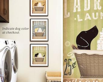 Labrador Retriever dog laundry basket company laundry room artwork UNFRAMED print by stephen fowler geministudio