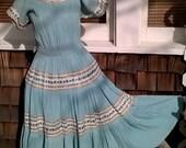 Arizona Patio Dress , Rick Rack Rockabilly, Southwestern Summer Dress, Phoenix Arizona,  sz Medium, 34 36 bust