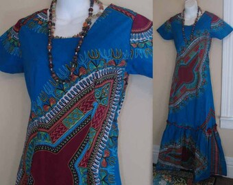 70s Vintage African Dress Turquoise dashiki Boho Long Mermaid dress ruffle hem short sleeves 70s Africa maxi dress XS