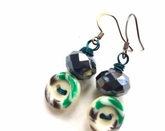 Cute Little Button Earrings with white, green, black, and gray