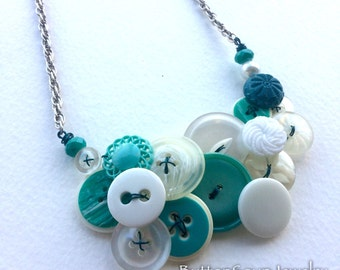 OOAK Aqua and White Swirl Vintage Button Jewelry Statement Necklace