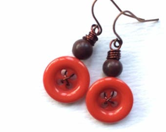 Mothers Day Sale Bright Orange and Brown Vintage Button Earrings