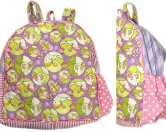 HANDMADE Toddler Girl Sweet Tweet 11 Inch Backpack READY To SHIP