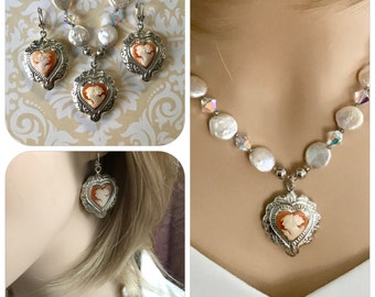 Wedding Pearls, Bridal Pearls, Antique Wedding Cameo Jewelry Set, Necklace  Earrings, Victorian Vintage Wedding Jewellery, Gift for Bride
