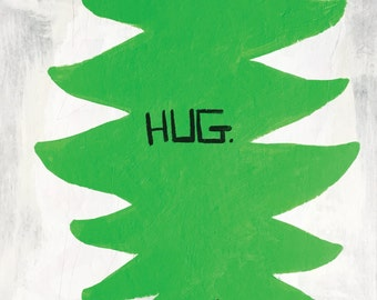 Original Painting, Tree, Hug, Friendship, Unique gift, Humor, Quirky,  Hug- painting on 300lb watercolor paper
