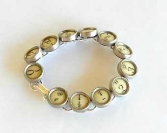 HOLIDAY SALE Typewriter Key Jewelry, Bracelet.  Numbers. Retro. Recycyled. Reclaimed. Vintage. Custom Orders Welcome.