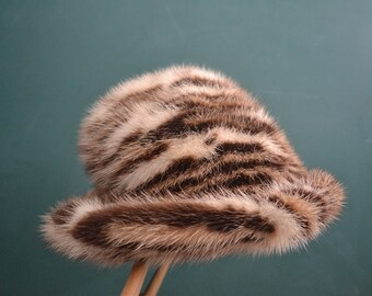 Vintage mink hat leopard print fur hat with brim