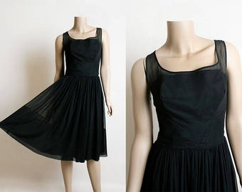 Vintage 1960s Chiffon Dress - Black Evening Party Dress - Little Black Dress LBD - Bias Cut Bodice Sheer Back - 60s Dress - Medium Small