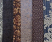 Brown & Tan Fabric Pack, Collection...DESTASH SALE, Closeout Clearance...6 home design samplers, remnants, scraps, texture - F1601