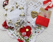 Vintage Hanky Panky Collection #3, Heart Kit, Red...Handkerchief, Lace, Jewelry bits, Ribbon, Buttons,Thread...Collage, Fabric Arts,Supplies