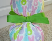 CHOOSE RIBBON COLOR Turn Up Ponytail Scrub Hat with Easter Bunny Rows