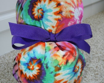 Turn Up Ponytail Scrub Hat with Groovy Tye Dye CHOOSE RIBBON COLOR