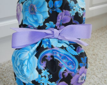 Turn Up Ponytail Scrub Hat with Lavender Blue Floral Paisley METALLIC