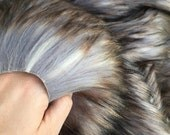 Eclipse - quality dense long pile luna grey fluffy synthetic fur fabric  - Long HALF