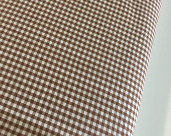 "Gingham Fabric, Dress fabric, Appliqué fabric, Plaid Fabric, Quilting Fabric, Apparel Fabric, 1/8"" Gingham Fabric in Chocolate"