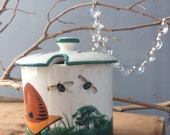 VINTAGE DECOR...ceramic sugar honey bees jar ~ small decanter ~ tea bag supply ~ handmade ~ stoneware