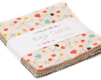"Ninja Cookies Moda Charm Pack 42 -  5"" precut fabric quilt squares by Jenn Ski"