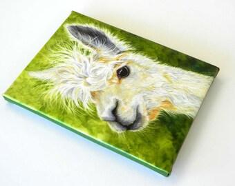 Alpaca Art, Canvas White Alpaca Print. country decor, kids decor, nursery decor, farm decor, alpaca painting, peruvian art, llama art